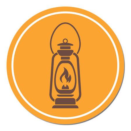 Antique Old Kerosene Lamp isolated. Retro design. Vector illustration.