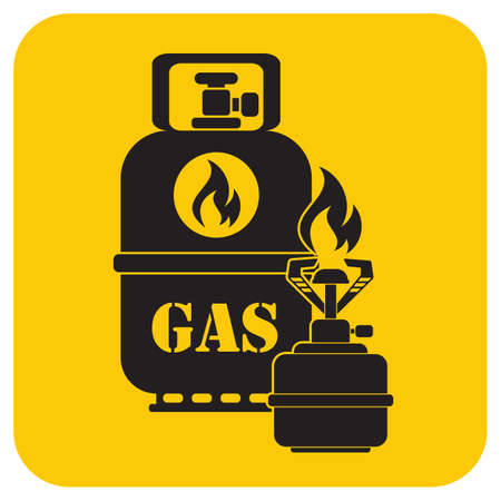 Camping stove with gas bottle icon. Vector illustration.