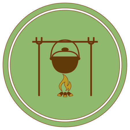 Fire and pot icon. Vector illustration. Stock Vector - 109891397