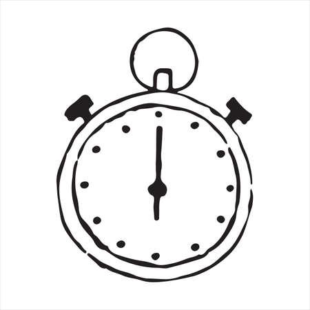 Cronómetro icono de doodle de contorno dibujado a mano. Ilustración de dibujo vectorial Ilustración de vector