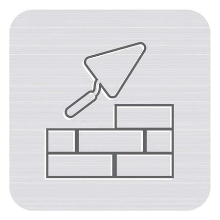 Brick with Trowel Symbol. Vector illustration