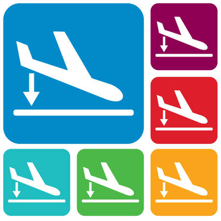 Departure landing plane icon simple flat vector illustration