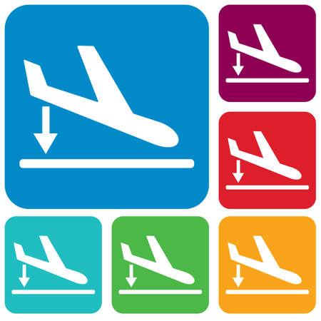Ilustración de vector plano simple icono de avión de aterrizaje de salida