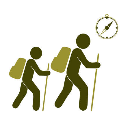 Hiking tourists with compass icon. Vector illustration Stock Illustratie