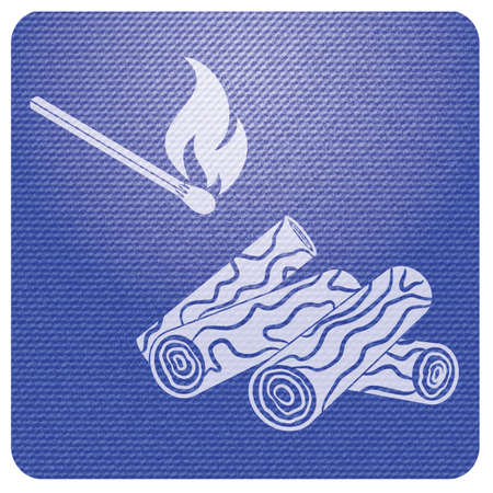 Firewood and matches icon Vector illustration