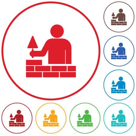 Brick layer tiler mason worker with trowel. Vector illustration Illustration
