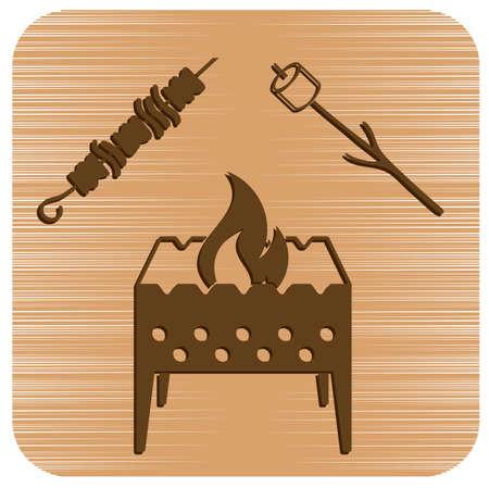 Brazier, zephyr and kebab icon. Vector illustration   Illustration