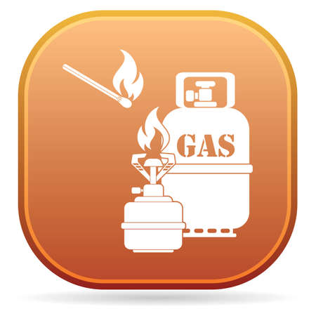 Camping stove with gas bottle icon vector. Vector illustration. 矢量图像