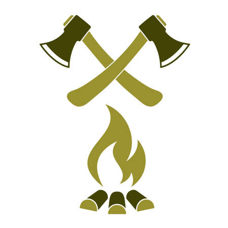 The ax and campfire icon. Flat Vector illustration Ilustração