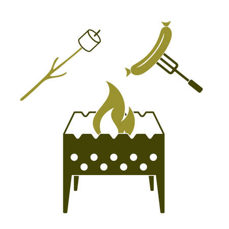 Brazier, zephyr and sausage icon. Vector illustration