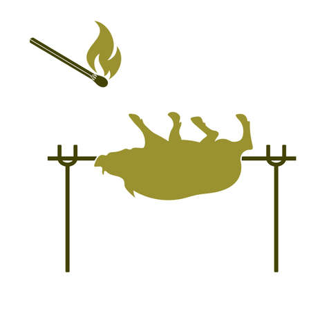 Grilled boar icon. Vector illustration