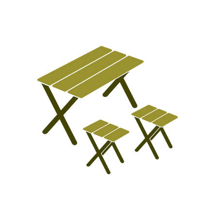 Camping table and stool icon. Vector illustration Ilustração