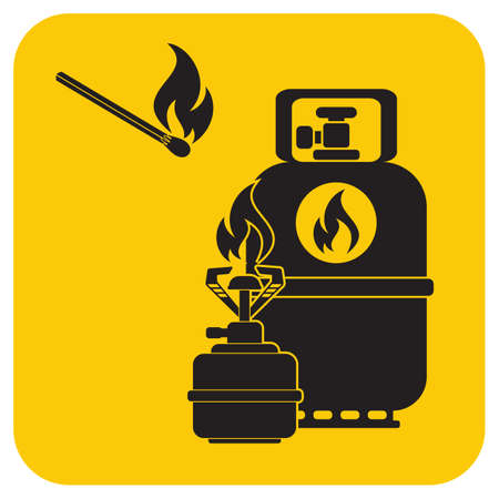 Camping stove with gas bottle icon vector. Vector illustration. Ilustração