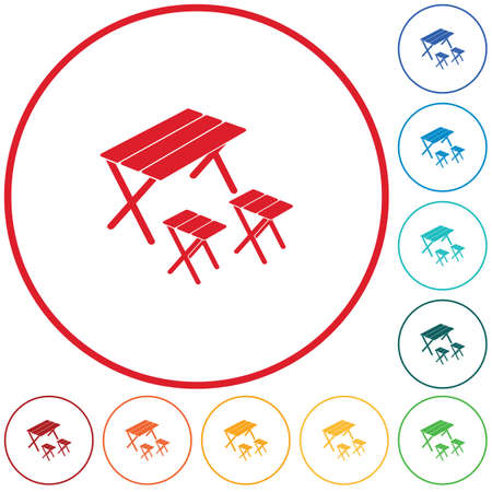 Camping table and stool icon. Vector illustration  イラスト・ベクター素材