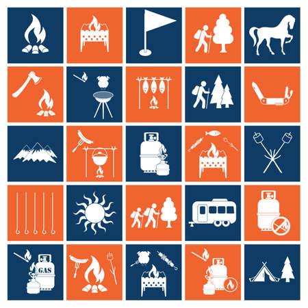 Set of camping equipment icons. Vector illustration