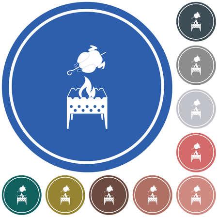 Brazier and chicken icon. Vector illustration Ilustração