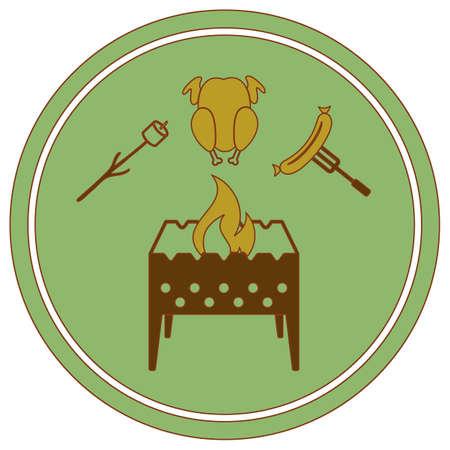 Brazier, zephyr, chicken and sausage icon. Vector illustration Ilustração