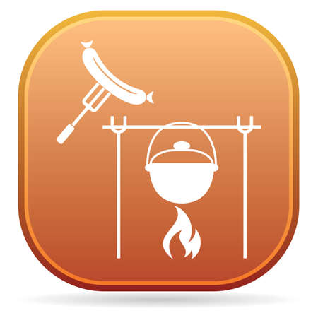 Fire, pot and sausage icon. Vector illustration. Stock Vector - 127434423