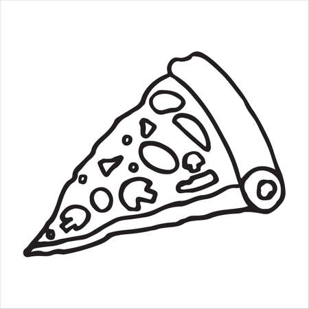 Tasty pizza slice with doodle style on white background