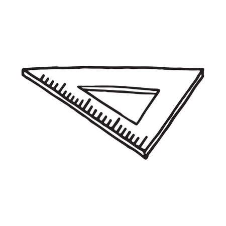 Hand drawn ruler triangle doodle icon. Vector illustration