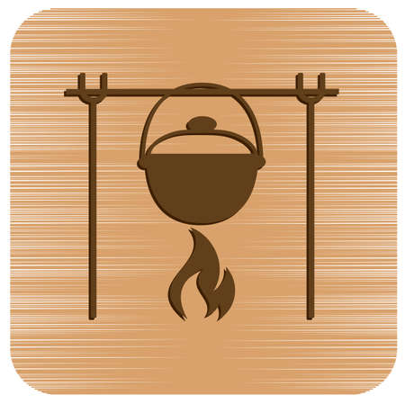Fire and pot icon. Vector illustration. Stock Vector - 115305222