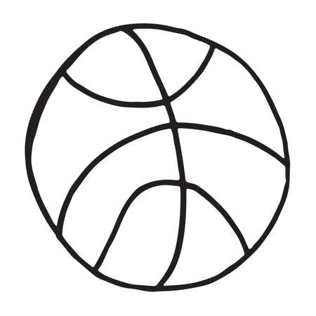 Hand drawn basketball doodle. Sketch childrens toy icon. Decoration element. Isolated on white background. Vector illustration Ilustracja