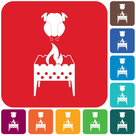 Brazier and chicken icon. Vector illustration