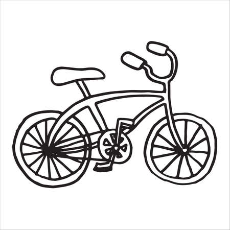Bicycle doodle illustration on a white background. Vector illustration