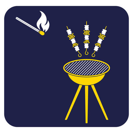 Grilled kebab icon. Vector illustration