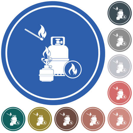 Camping stove with gas bottle icon vector. Vector illustration. Vectores