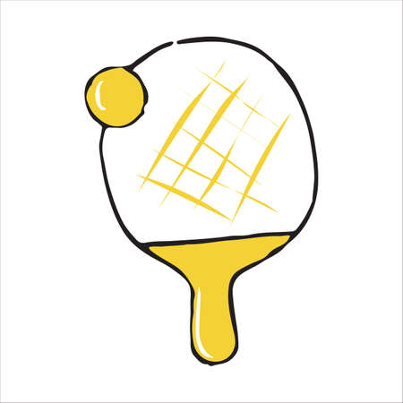Ping pong racket and ball doodle icon, vector illustration Illustration