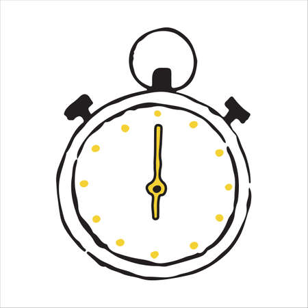 Stopwatch hand drawn outline doodle icon. Vector sketch illustration Illustration