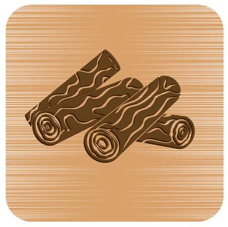 Firewood for bonfire icon. Vector illustration