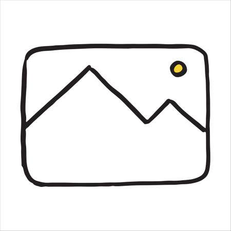 Hand drawn photo symbol doodle icon. Vector illustration