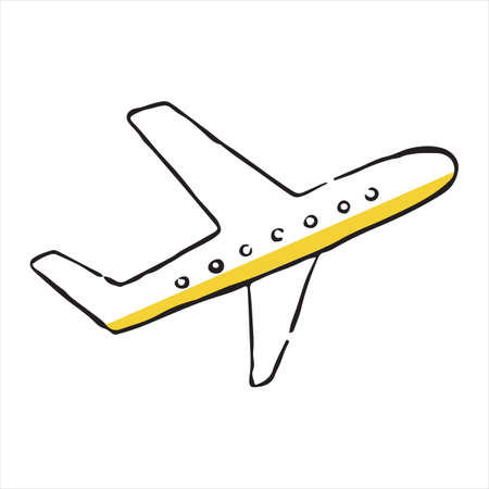 Airplane doodle icon. Vector illustration