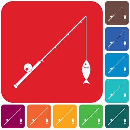 Fishing rod icon. Vector illustration