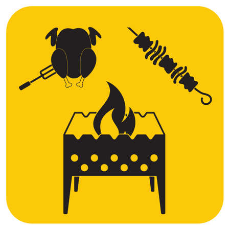 Brazier kebab and chicken icon. Vector illustration