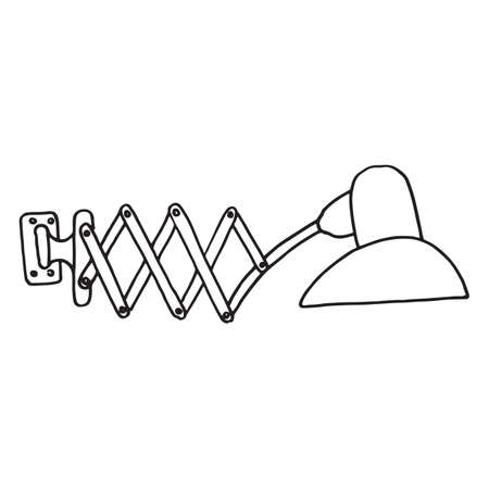 Doodle icon of modern wall lamp. Vector illustration