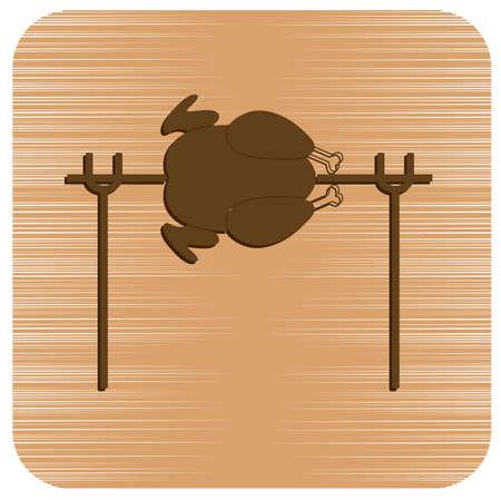 Icona di pollo alla griglia. Illustrazione vettoriale