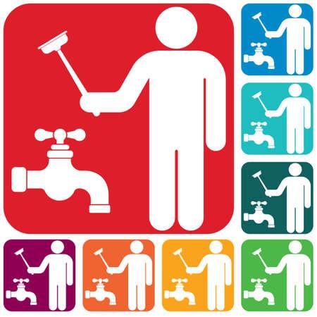 Plumbing work symbol icon. Vector illustration Vector Illustratie