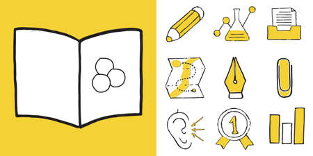 Set of Educations, sport and Sciences doodle icons. Vector illustration Ilustrace