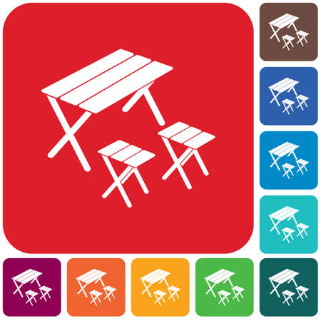 Camping table and stool icon. Vector illustration