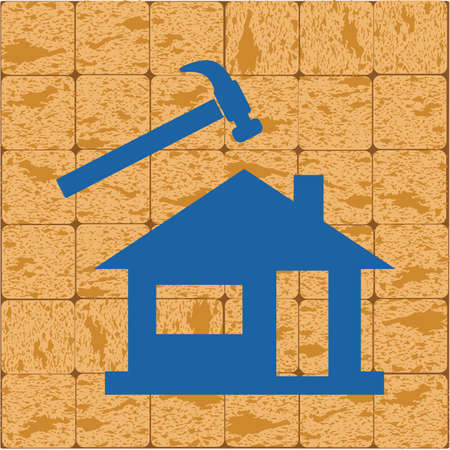 Roofer / slater icon. Vector illustration