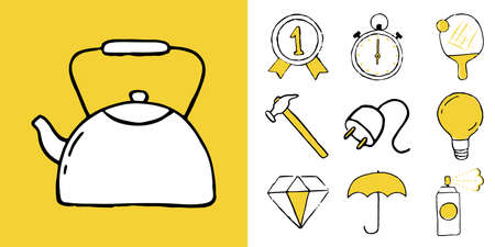 Icon set of household items, food and drinks. Vector illustration