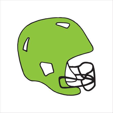 Doodle style football helmet sports equipment in vector format