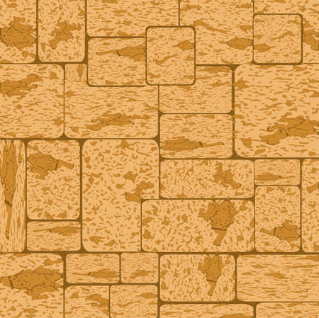 Simple grungy shell rock brick wall pattern surface texture background in wide panorama banner format. Vector illustration Ilustrace