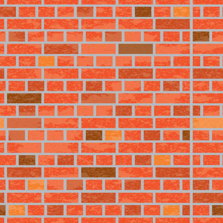 Simple grungy brick wall seamless pattern surface texture background in wide panorama banner format. Vector illustration