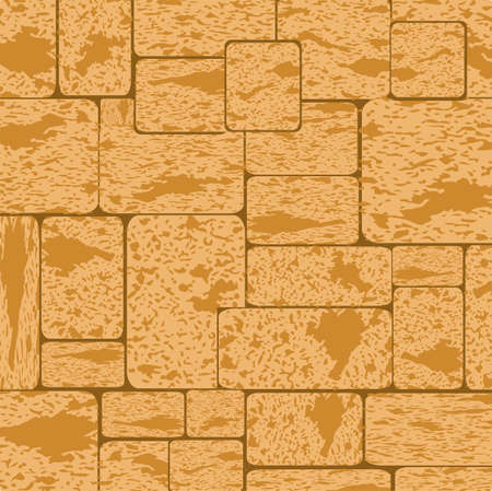 Simple grungy shell rock brick wall pattern surface texture background in wide panorama banner format. Vector illustration Ilustração