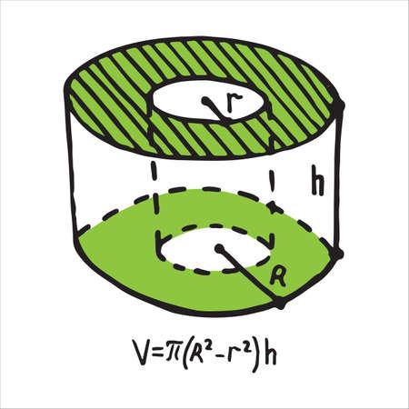 Volume of the hollow cylinder body. Doodle vector illustration Illustration