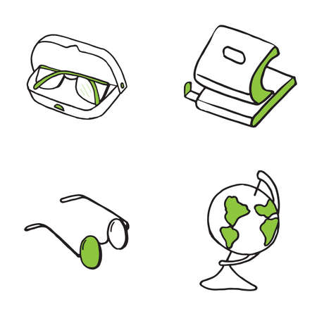 Set of Educations and Sciences doodle icons. Vector illustration
